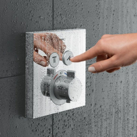 Hansgrohe ShowerSelect Thermostatic Mixer 2 Outlet (Square)
