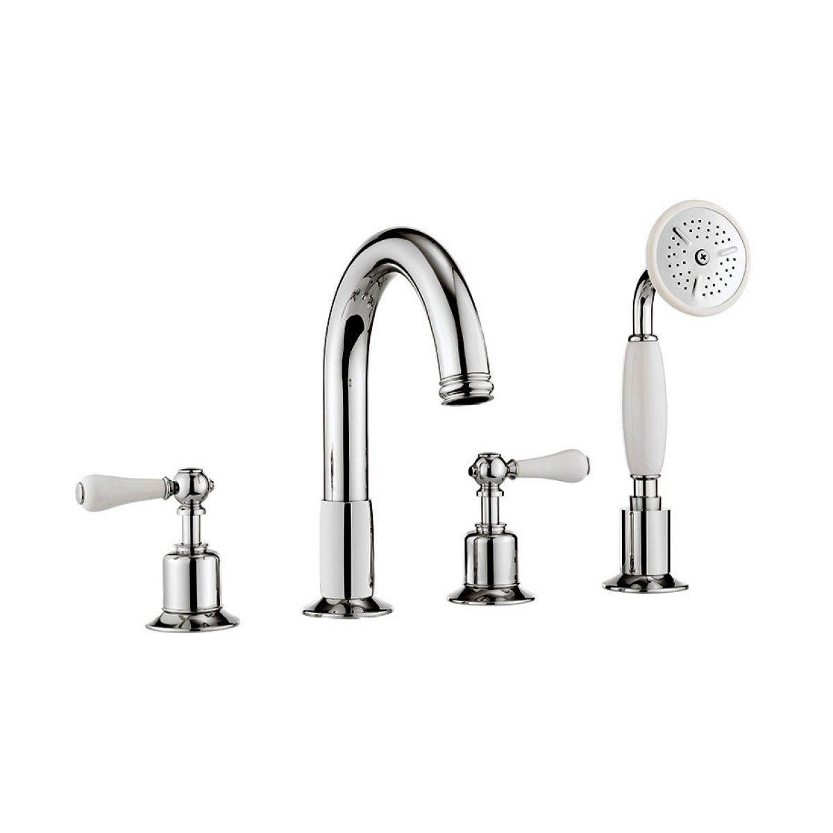 Crosswater Belgravia 4 Hole Bath Mixer Tap With Shower Set