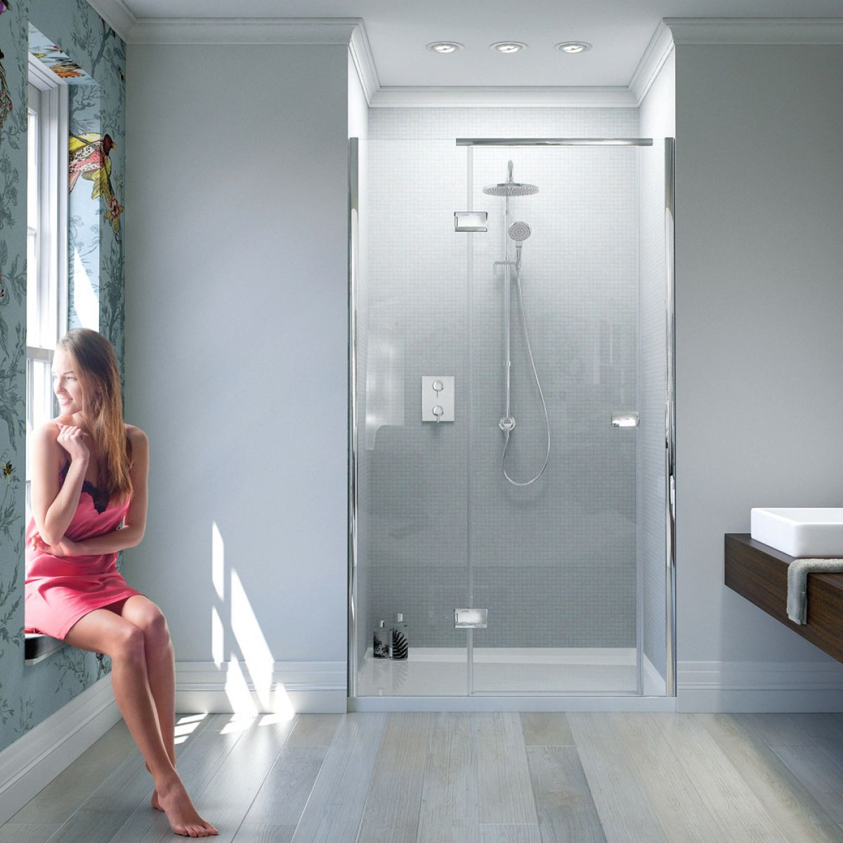 Matki New Illusion Hinged Recess Shower Door With Integrated Tray