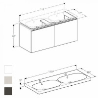 Geberit Acanto 1200mm Double Vanity Unit With Drawers