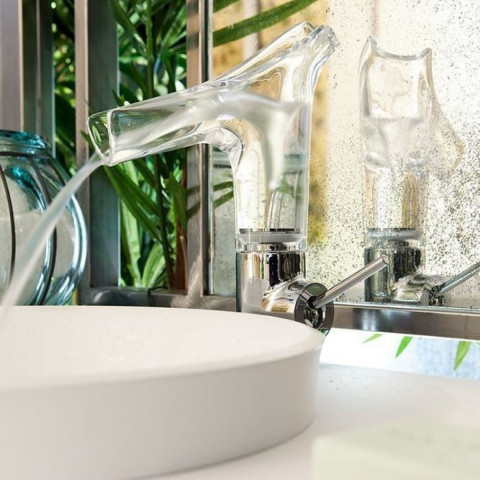 AXOR Starck V Single Lever Basin Mixer 140 With Glass Spout