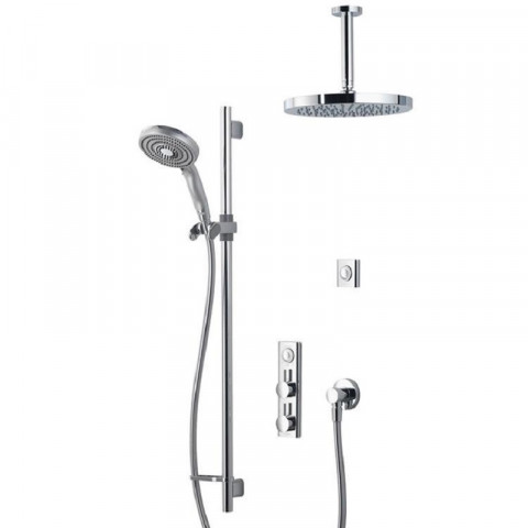 Aqualisa HiQu Dual Outlet Digital Smart Shower With 250mm Round Head & Slide Rail Kit