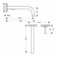 AXOR Uno Wall Mounted Single Lever Basin Mixer