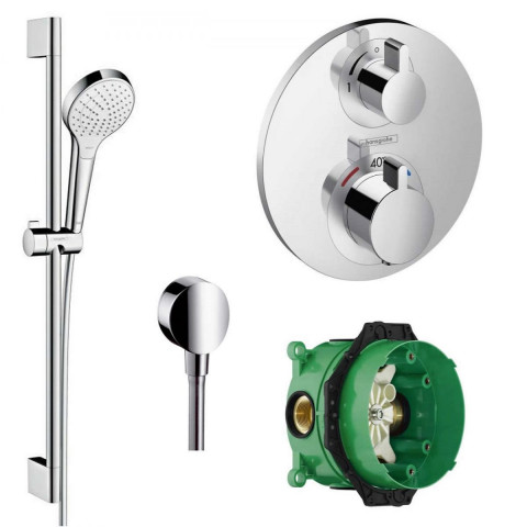 Hansgrohe Round Valve With Croma Select Rail Kit Shower Pack