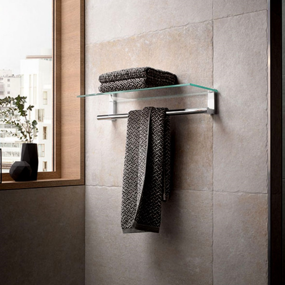 Keuco Plan Towel Rack With Glass Shelf