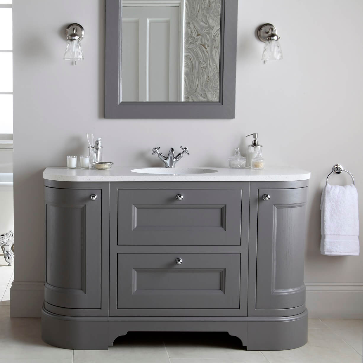 Burbidge Tetbury 1340mm Curved Vanity Unit & Worktop With Integral Basin