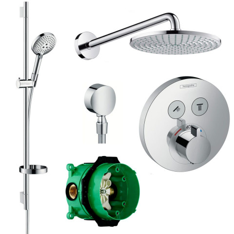 Hansgrohe Design Round Select Valve With Raindance 240 Overhead Shower & Select S Slide Rail Kit