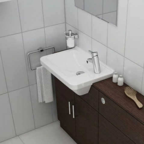 Vitra S50 Compact Square Semi Recessed Washbasin