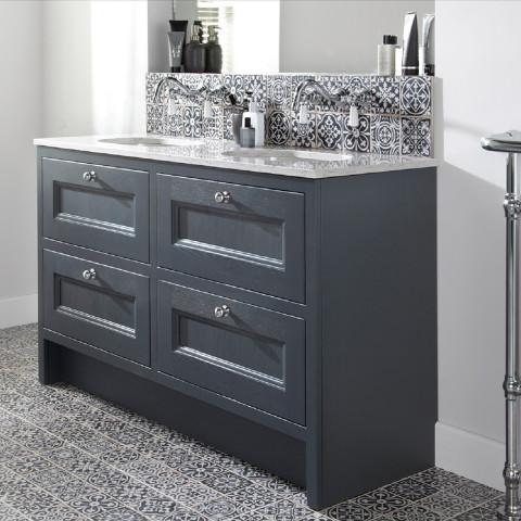 Burbidge Tetbury 4 Drawer Vanity Unit & Worktop With Integral Basins