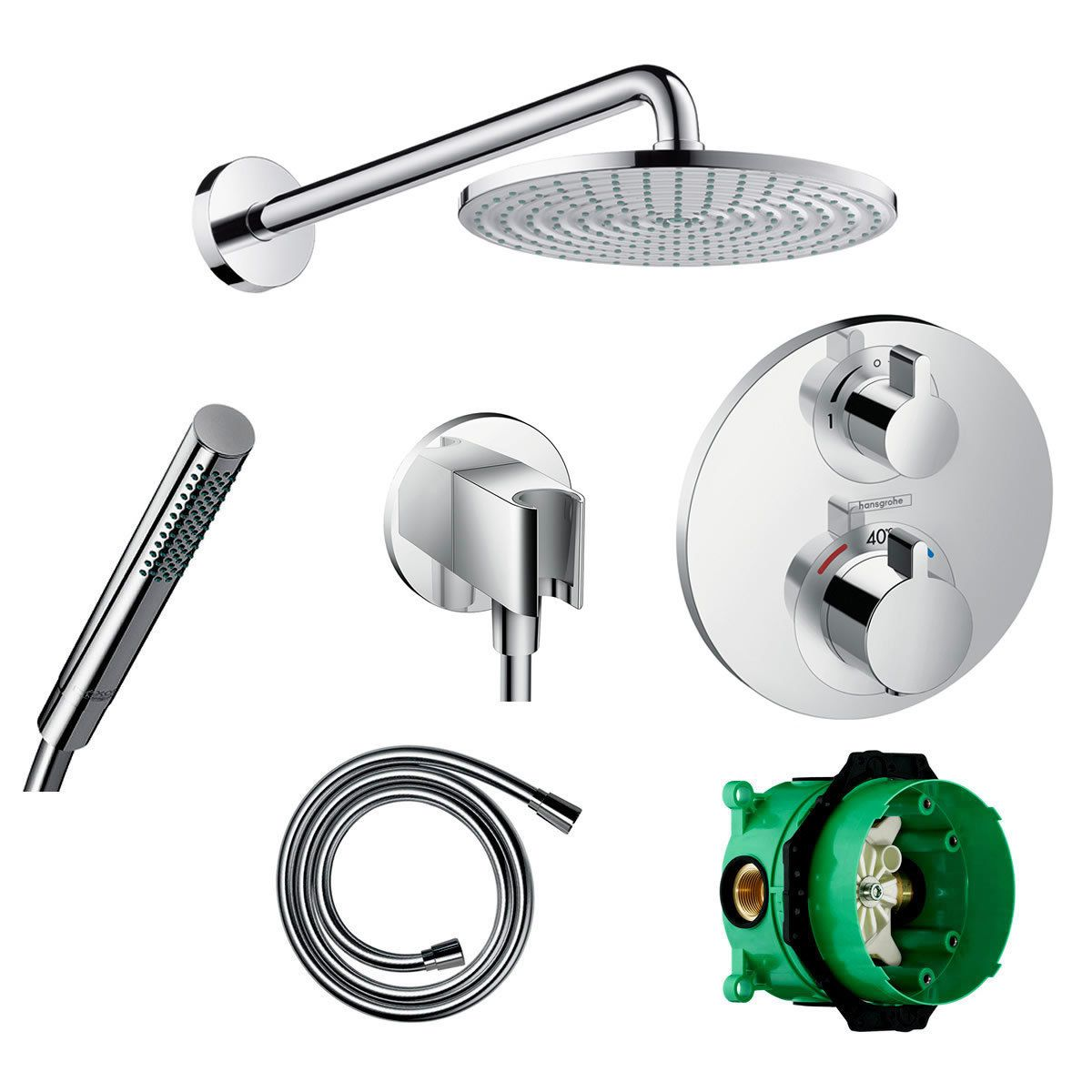 Hansgrohe Round Ecostat Valve with Raindance 240 Overhead Shower and Baton Hand shower