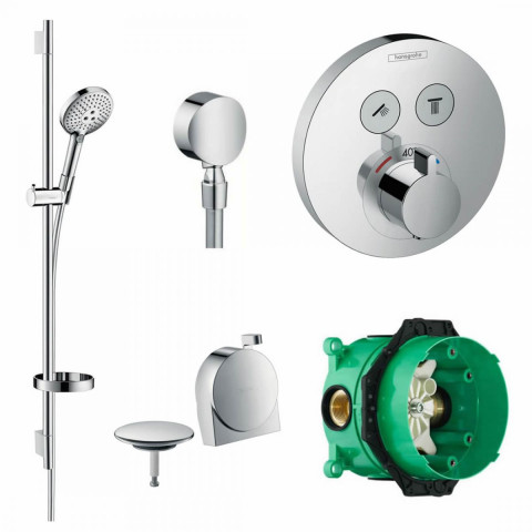 Hansgrohe ShowerSelect S Concealed Valve with Raindance Select Rail Kit and Exafill Bath Filler