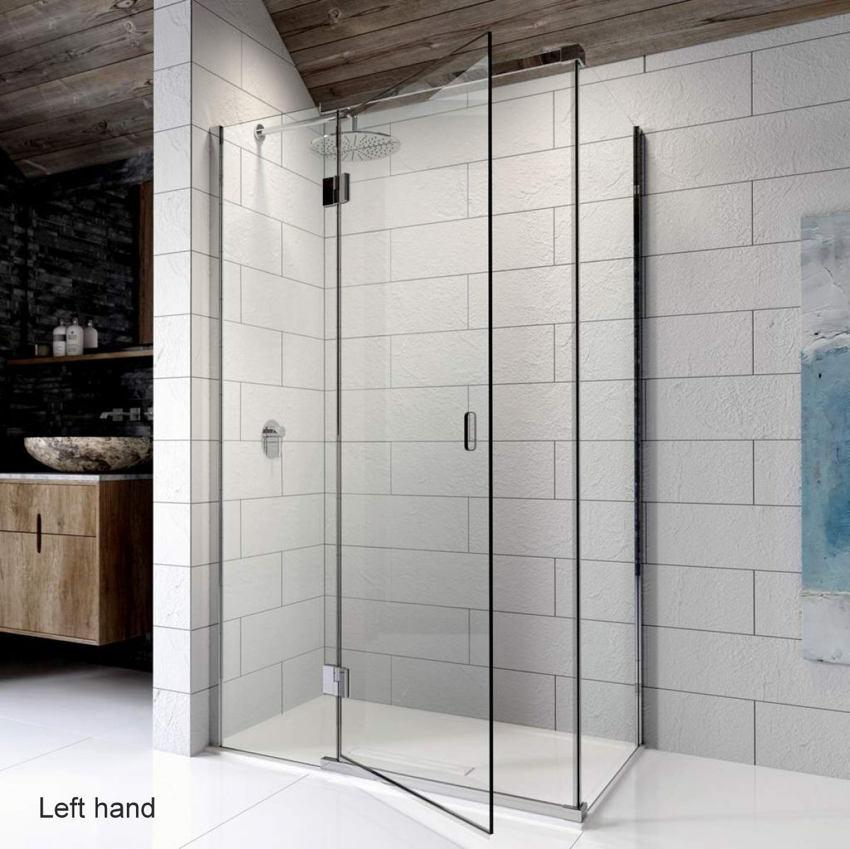 Kudos Pinnacle 8 Hinged Shower Door For Corner