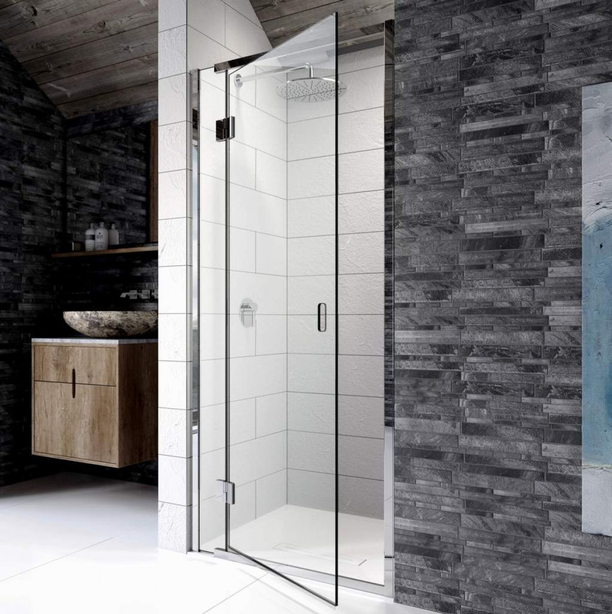 Kudos Pinnacle 8 Hinged Shower Door For Recess
