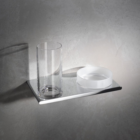 Keuco Edition 400 Double Holder Glass & Utensil Tray