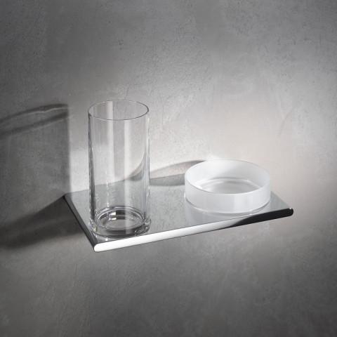 Keuco Edition 400 Double Holder Glass & Utensil Tray
