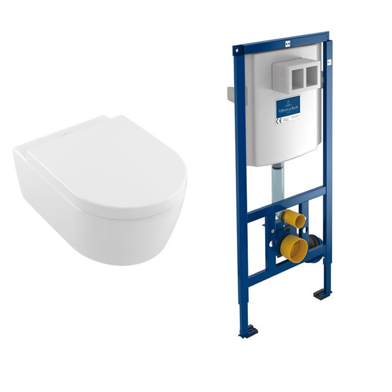 Villeroy & Boch Avento Rimless Wall Hung Toilet and ViConnect Frame Pack