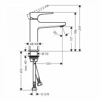 Hansgrohe Metropol Single Lever Basin Mixer 110 with push open waste in Matt Black