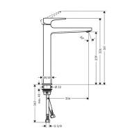 Hansgrohe Metropol Single Lever Tall Basin Mixer 260 with push open waste in Matt Black